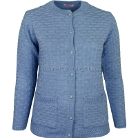 Blue Round Neck Latice Cable Cardigan
