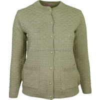 Beige Round Neck Latice Cable Cardigan