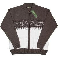 Mocca Mens Short Collar Zipper Cardigan