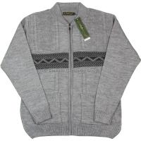 Light Grey Mens Short Collar Zipper Cardigan