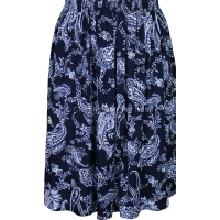 Navy & White Paisley Printed Skirt