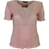 Pink Short Sleeve Plisse Top