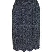 Black Lines Gathered Plisse Skirt