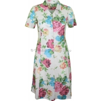 Cream Floral Short Sleeve Tie-Back Dress