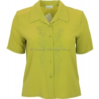 Lime Embroidered Waffle Short Sleeve Blouse