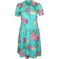 Teal Floral Short Sleeve Tie-Back Dress