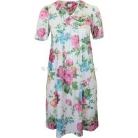 Cream Floral Short Sleeve Smock Dress