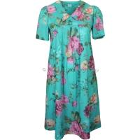Teal Floral Short Sleeve Smock Dress