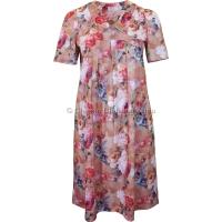 Peach Floral Short Sleeve Smock Dress