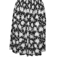 Black Floral Printed Skirt