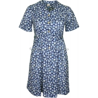 Navy Floral Sweetheart Neck Dress