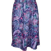 Navy Paisley Printed Panelled Skirt
