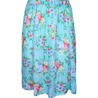 Teal Printed Panelled Skirt