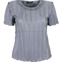 Silver Grey Short Sleeve Plisse Top