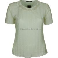 Cream Short Sleeve Plisse Top