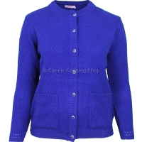 Royal Blue Round Neck Cable Cardigan