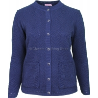 Navy Round Neck Cable Cardigan