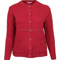 Red Round Neck Cable Cardigan