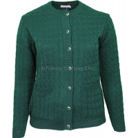 Bottle Green Round Neck Cable Cardigan