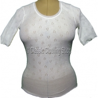 Ladies White Snowdrop/Swan Mills Short Sleeve Thermal Vest