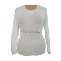 Ladies White Snowdrop/Swan Mills Long Sleeve Thermal Vest