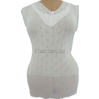 Ladies White Snowdrop/Swan Mills Sleeveless Thermal Vest