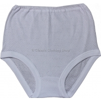 Ladies Plain White Eyelet Full Briefs