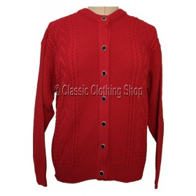Capers Red Round Neck Cardigan