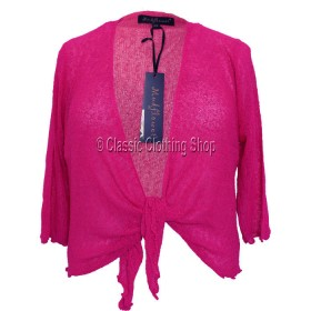 Hot Pink Mudflower Tie-Knot Popcorn Shrug
