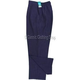 Navy Linen Look Trousers