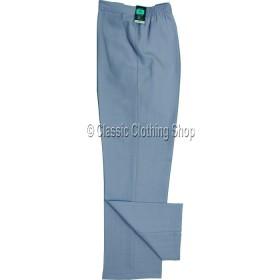 Light Blue Linen Look Self Stripe Trousers