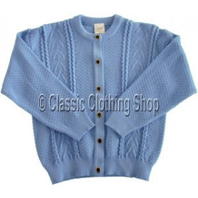 Capers Corn Flower Blue Round Neck Cardigan