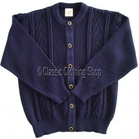 Capers Navy Round Neck Cardigan