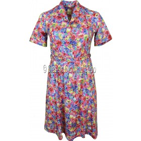 Red & Blue Floral Short Sleeve Dress
