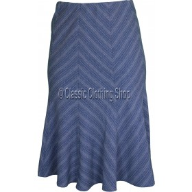 Blue Panelled A-Line Skirt