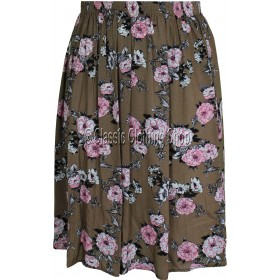 Taupe Floral Printed Viscose Skirt