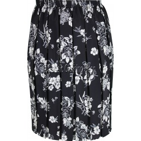Black & Cream Floral Naomee Full Elastic Pleated Print Skirt