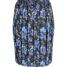 Blue & Black Floral Naomee Full Elastic Pleated Print Skirt