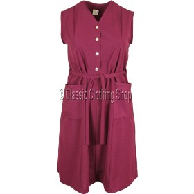 Wine Plain Ribbed Pinafore Dress