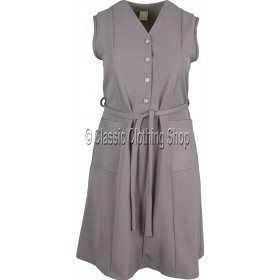 Taupe Plain Ribbed Pinafore Dress