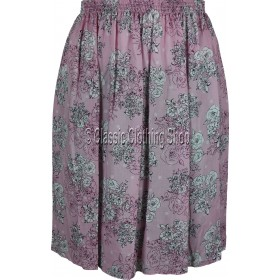 Pink Floral Printed Viscose Skirt