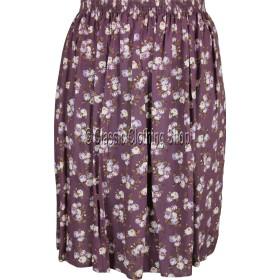 Aubergine Floral Printed Viscose Skirt