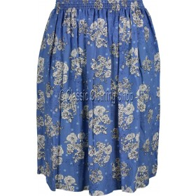Aqua Blue Floral Printed Viscose Skirt