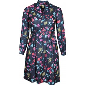 Red Floral Pattern Long Sleeve Dress