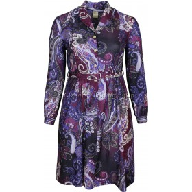 Aubergine Paisley Pattern Long Sleeve Dress
