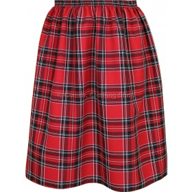 Red Check Elasticated Gathered Skirt