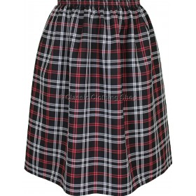 Coral/White Check Elasticated Gathered Skirt