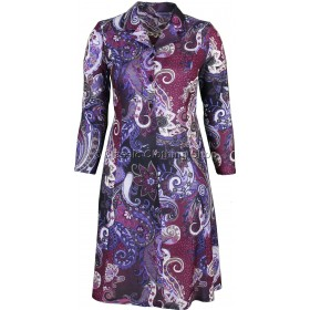 Aubergine Paisley Long Sleeve Tie Back Dress