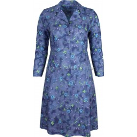 Blue Floral Long Sleeve Tie Back Dress