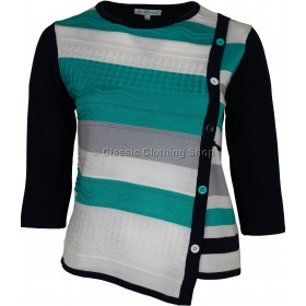 Teal/Navy Three Quarter Sleeve Jumper